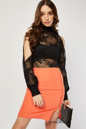 Дамска дантелена блуза - боди